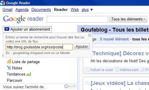 Ajouter un flux dans Google Reader
