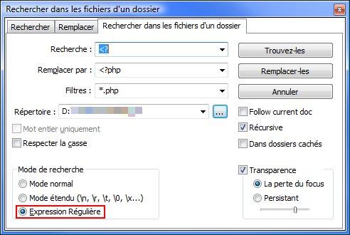 Interface de recherche de notepad++