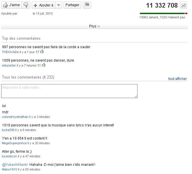Exemple de commentaires types sur YouTube