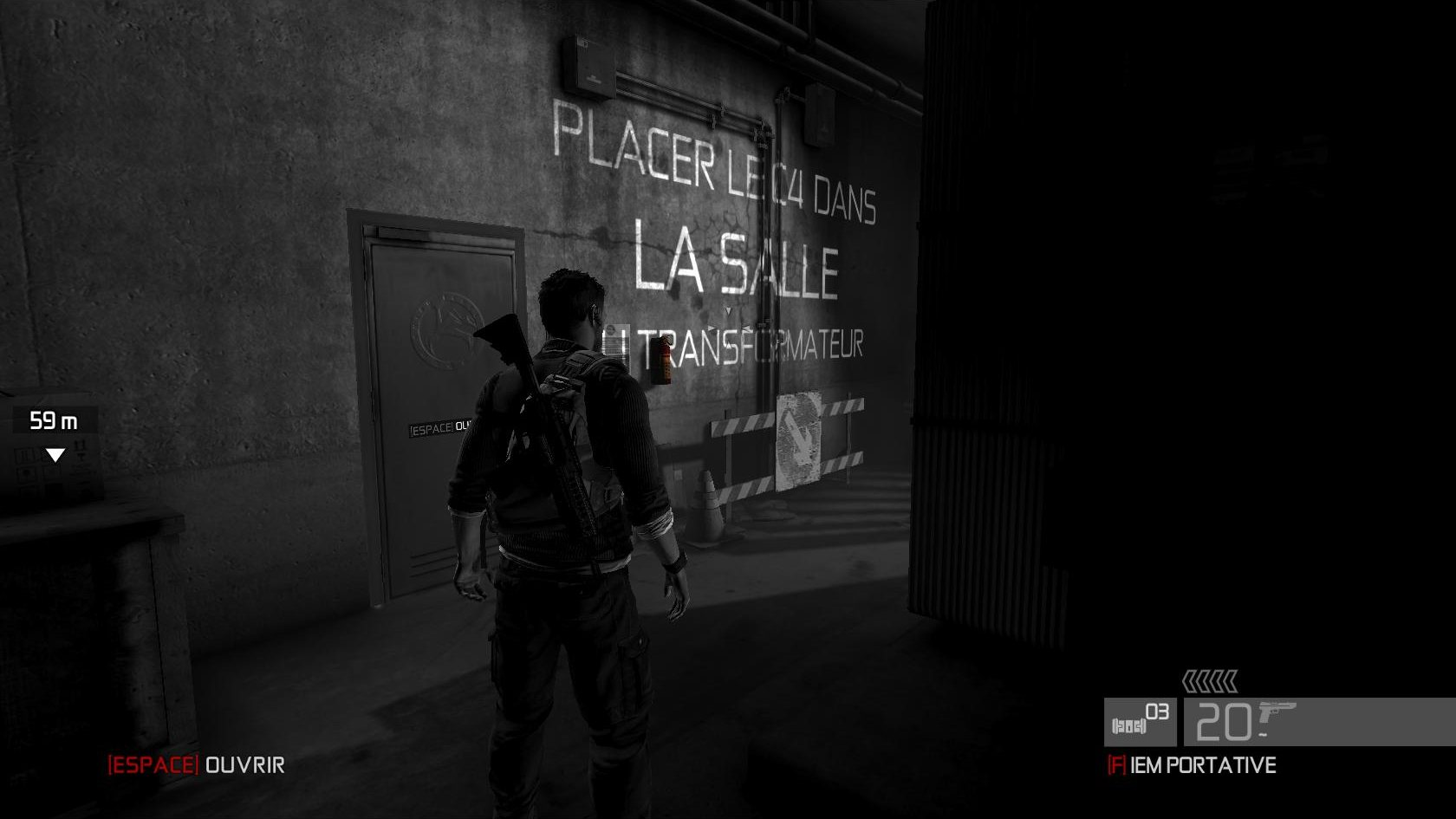 La mission s'affiche sur les murs, ainsi que les actions.